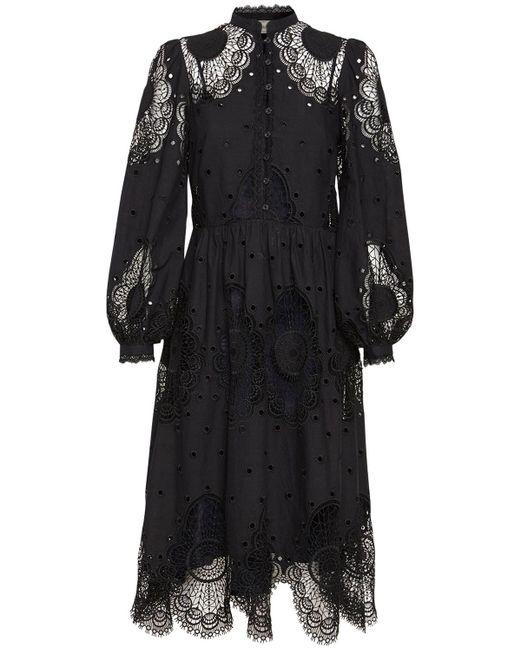 Temperley London コットンブレンドレースドレス Black