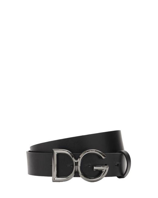 メンズ Dolce & Gabbana レザーベルト 35mm Black