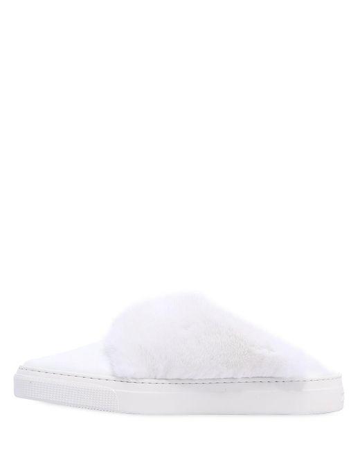 "ZCD MONTREAL White 20mm Hohe Sneakers Aus Leder Und Nerzpelz ""max"""