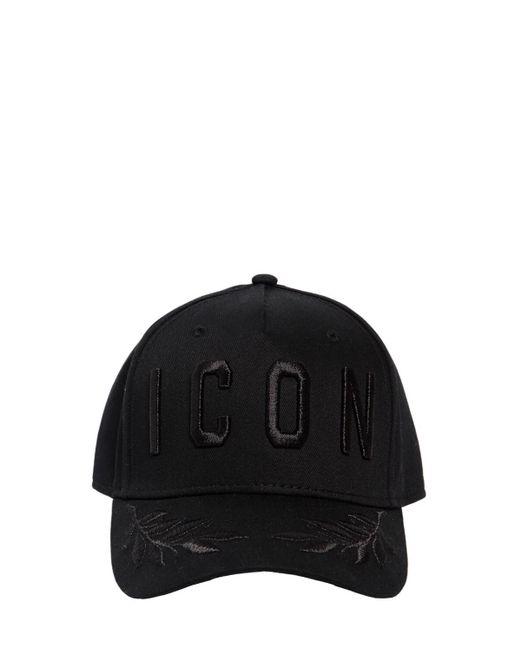 メンズ DSquared² Icon コットンキャンバスキャップ Black
