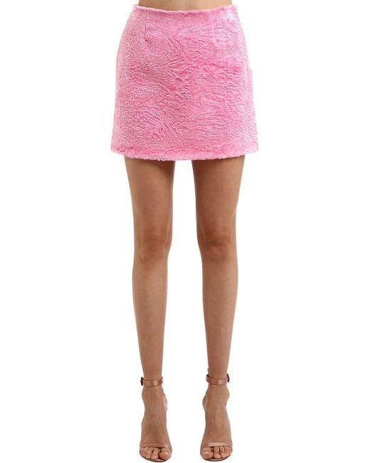 26991b3d9b Vivetta - Pink Faux Astrakhan Mini Skirt - Lyst ...