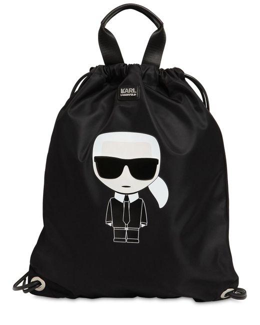Karl Lagerfeld K/ikonik ナイロンフラットバックパック Black