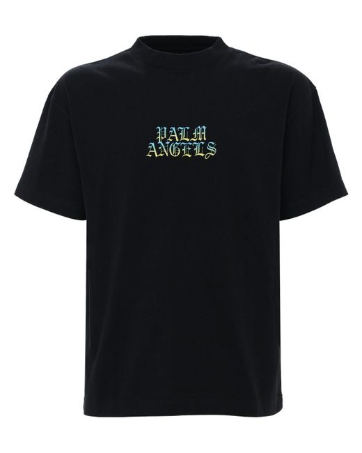メンズ Palm Angels Hue Gothic Logo ジャージーtシャツ Black