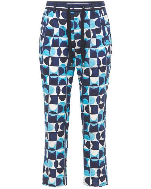 メンズ Dolce & Gabbana Geometric コットンポプリンパンツ Blue