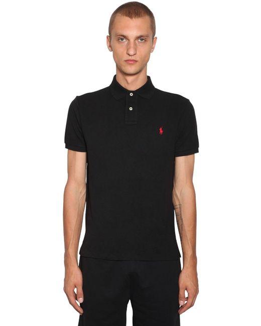 メンズ Polo Ralph Lauren コットンピケポロシャツ Black