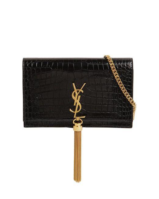 Кожаная Сумка Kate С Крокодиловым Тиснением Saint Laurent, цвет: Black
