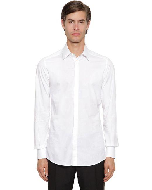 メンズ Dolce & Gabbana ジャカードコットンシャツ White