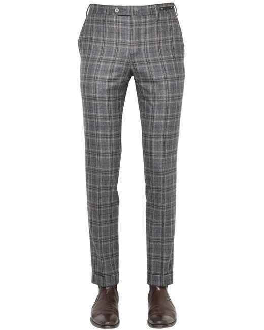 PT01 - Gray 18cm Evo Fit Plaid Brushed Wool Pants for Men - Lyst