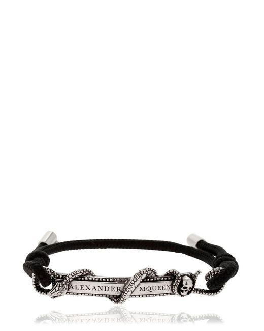 Alexander McQueen - Black Snake & Logo Drawstring Bracelet for Men - Lyst