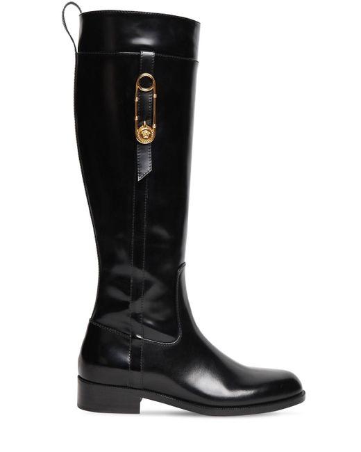 Высокие Кожаные Сапоги 30mm Versace, цвет: Black