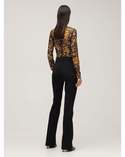 Versace Jeans メッシュ&レースボディスーツ Black