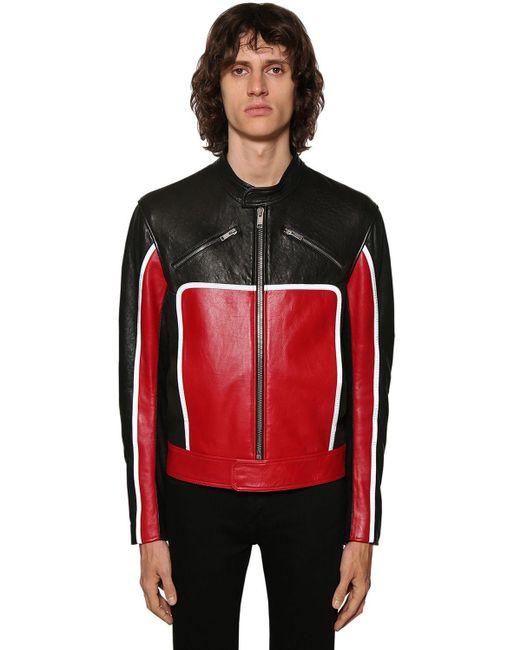 メンズ Givenchy レザーバイカージャケット Red