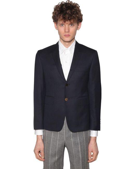 メンズ Thom Browne 120s ウールツイルジャケット Blue