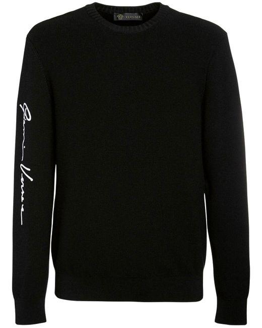 メンズ Versace ウールニットセーター Black