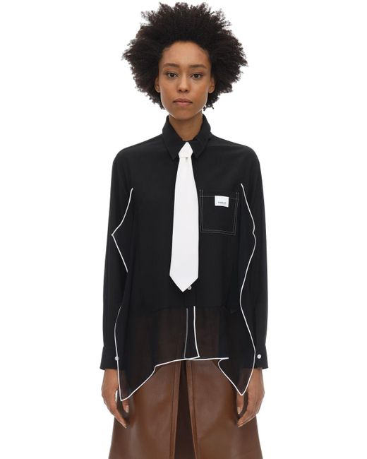Burberry Black Piping Detail Silk Oversized Shirt and Tie Twinset