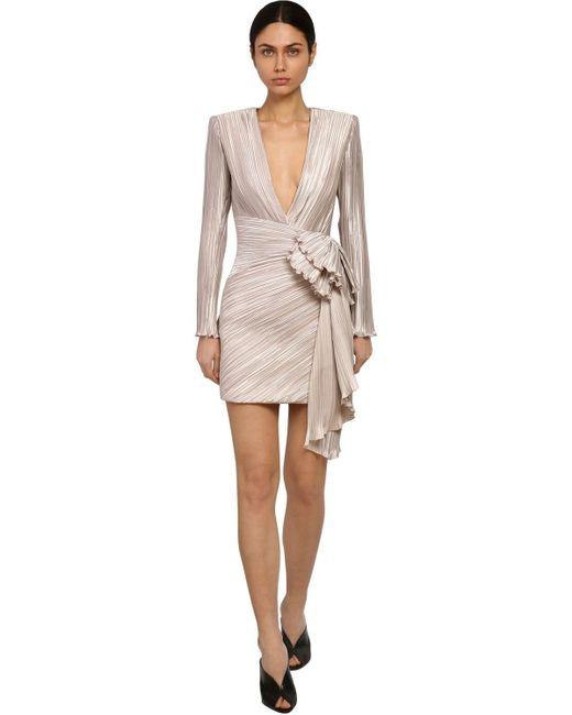 Givenchy テクノサテン プリーツドレス Gray