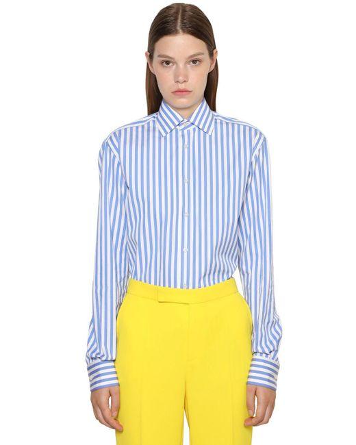 Ralph Lauren Collection コットンポプリンボーイフレンドシャツ Blue