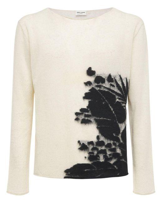 メンズ Saint Laurent Tropical リネンブレンドニットセーター White