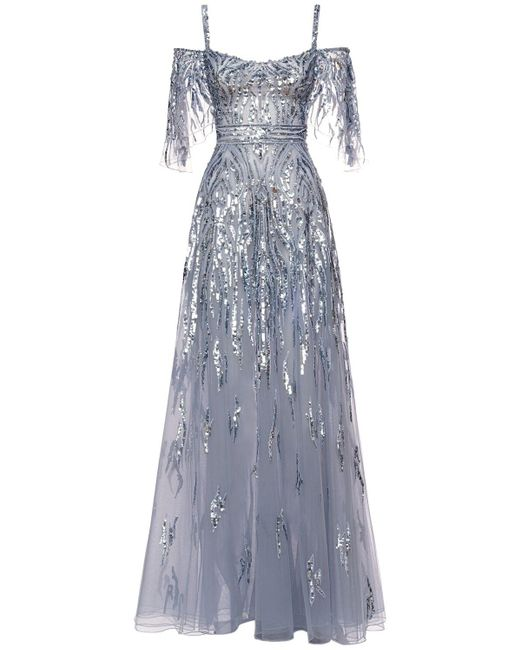 Платье Макси Пайетками Zuhair Murad, цвет: Blue