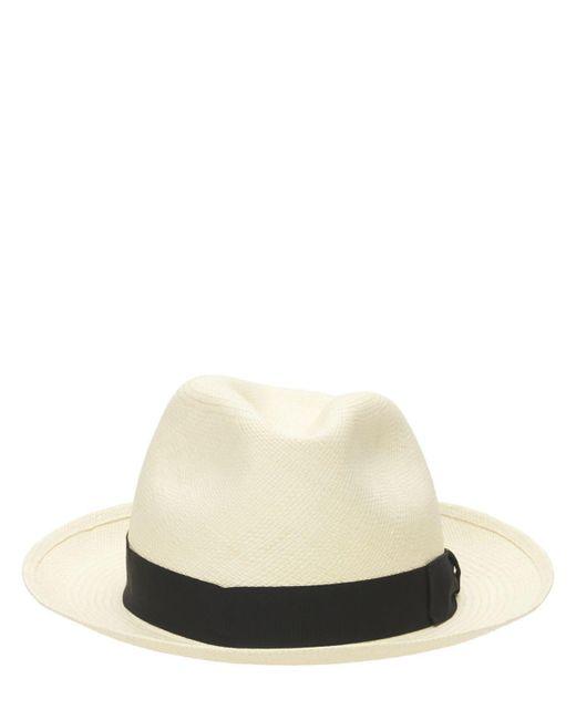 メンズ Borsalino Quito ミディアムブリム ストローパナマ帽 White
