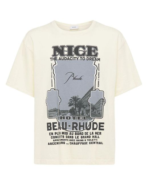Rhude Black Cotton Nice Printed T-shirt for men