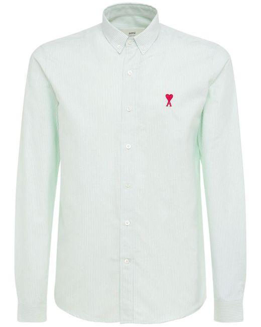 Рубашка Оксфорд Из Хлопка С Логотипом AMI для него, цвет: White