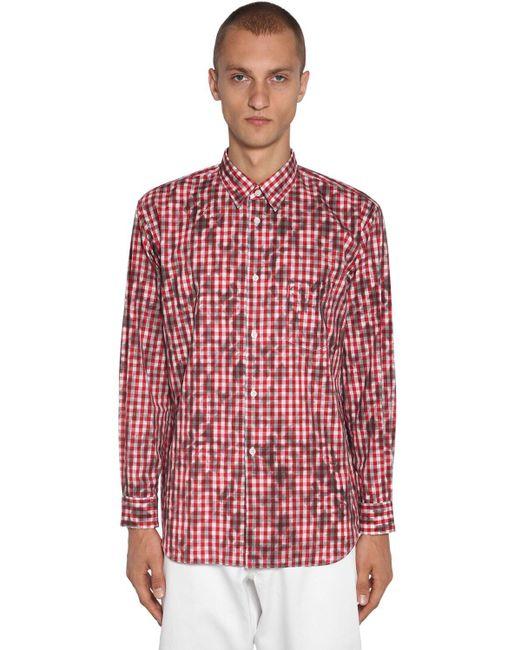 メンズ Comme des Garçons コットンポプリンシャツ Red