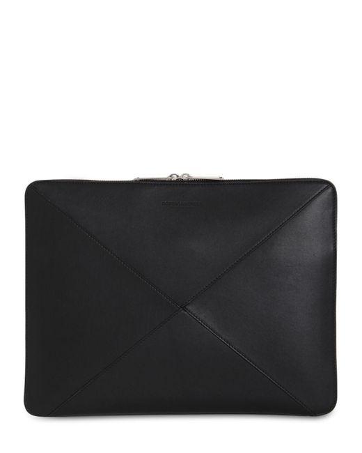 メンズ Bottega Veneta Maxi Intrecciato レザードキュメントケース Black