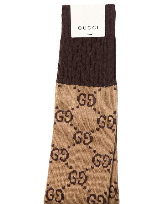 メンズ Gucci Gg Supreme コットンブレンドソックス Brown