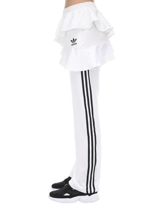 Pantalon De Survêtement En Velours À Volants Adidas Originals en coloris White