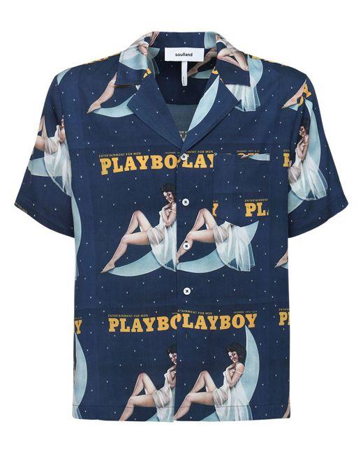 メンズ Soulland Playboy X Moon ボウリングシャツ Blue