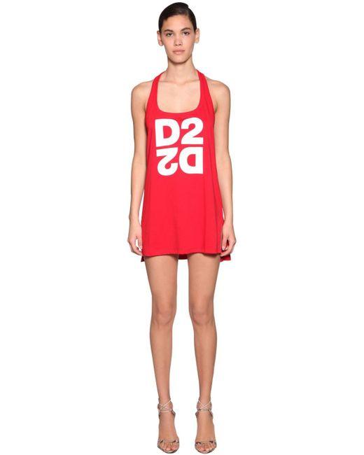DSquared² コットンジャージータンクトップドレス Red