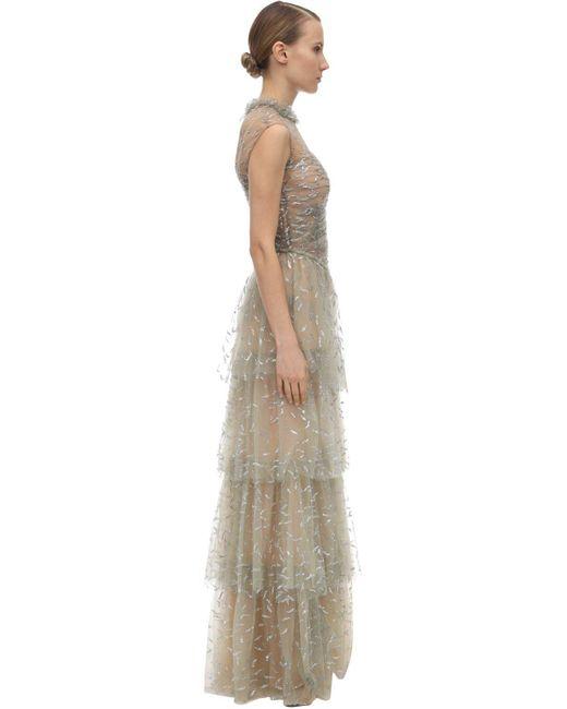 Sandra Mansour Multicolor Kleid Aus Tüll Mit Glitzer