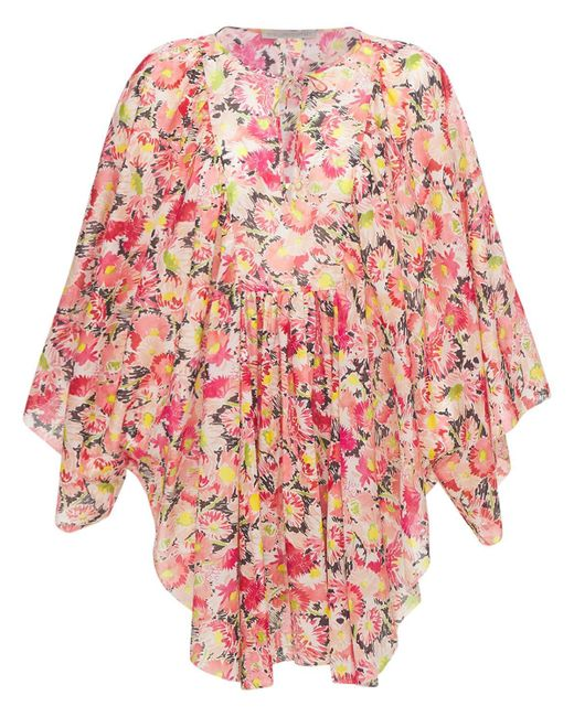 Stella McCartney Floral コットンボイルミニドレス Pink