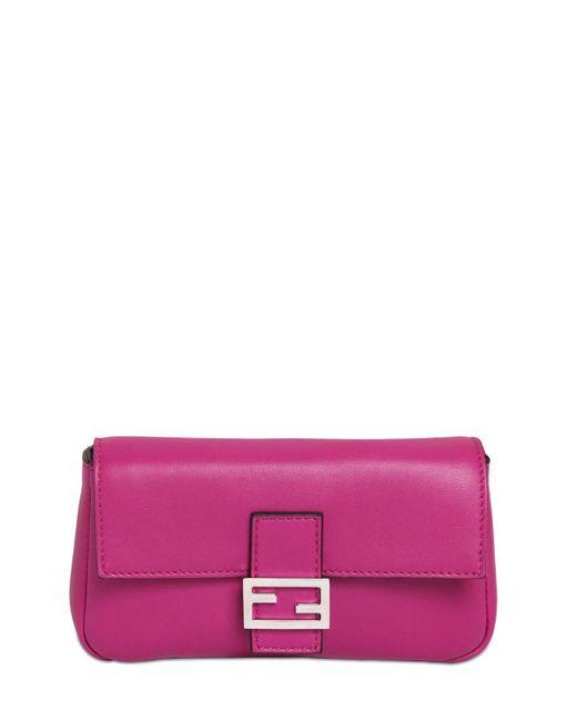 Fendi - Pink Micro Baguette Nappa Leather Bag - Lyst