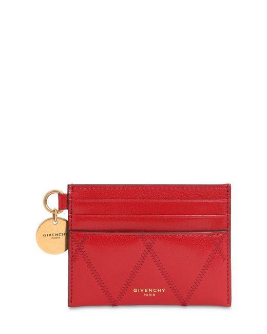 Givenchy キルトレザー カードホルダー Red