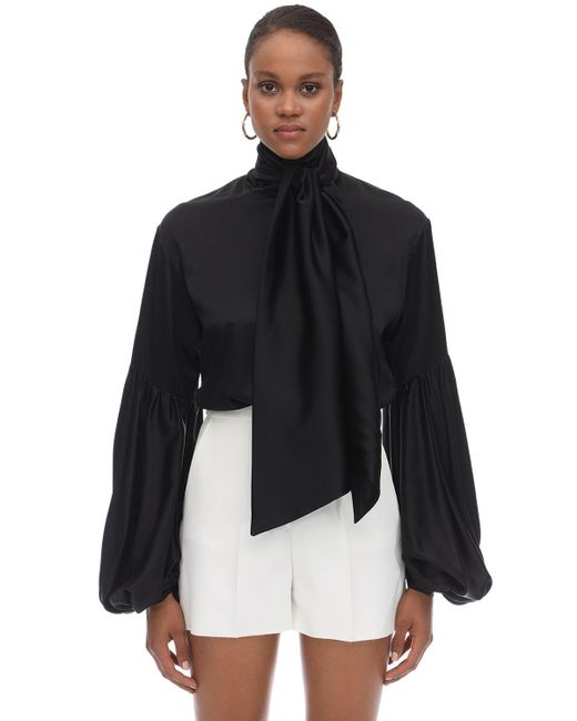 L'Autre Chose シルクサテンシャツ Black