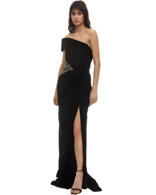 Embellished Velvet Dress Marchesa, цвет: Black