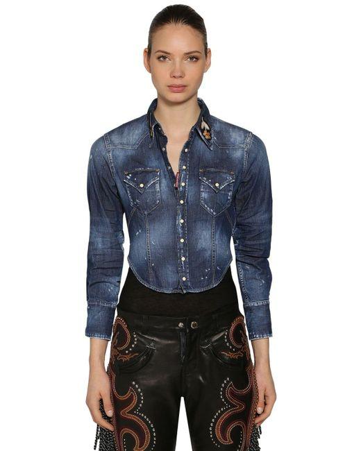 DSquared² Blue Stretch Denim Cropped Shirt