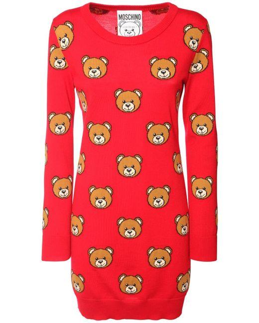 Moschino Teddy ストレッチニットドレス Red