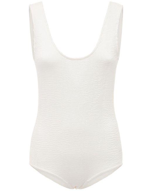 Bottega Veneta White Retro Low Cut One Piece Swimsuit