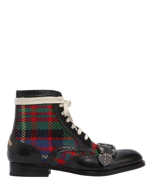 Gucci - Multicolor Queercore Leather & Tweed Boots - Lyst