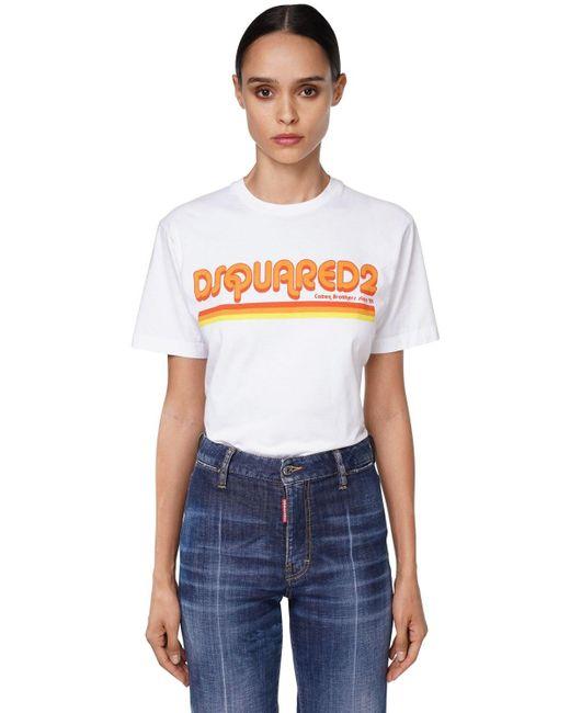 DSquared² オーバーサイズコットンジャージーtシャツ White