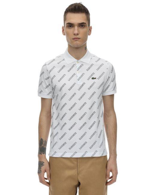 メンズ Lacoste コットンポロシャツ White