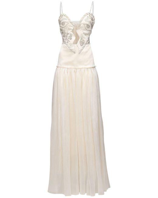 Sandra Mansour White Kleid Aus Satin Und Organza