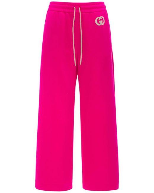 Gucci Pink Trainingshose Mit Weitem Bein