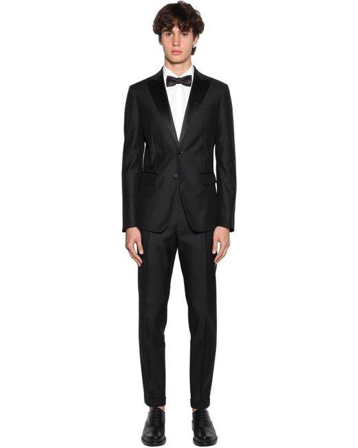 メンズ DSquared² シルク&ウールタキシードスーツ Black