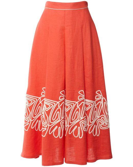 Loro Piana リネンクレープスカート Red