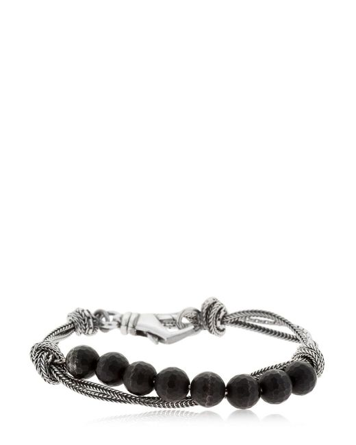 Emanuele Bicocchi - Metallic Onyx & Silver Chain Bracelet - Lyst