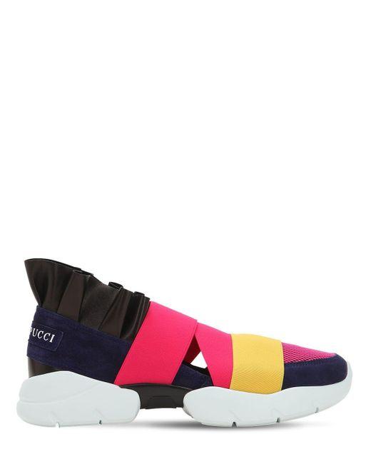 """Sneakers """"city"""" De Malla Y Ante Con Volante 30mm Emilio Pucci de color Pink"""